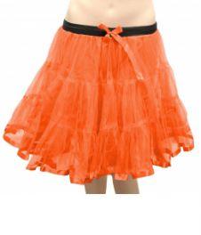 Girls 2 Layers Orange Petticoat Tutu Skirt (18 Inches Long)