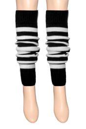 Girls Black & White Stripe Leg Warmer