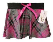 Girls Bow Tartan Skirt Pink