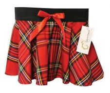 Girls Bow Tartan Skirt Red