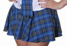 Girls Bow Tartan Skirt Royal Blue