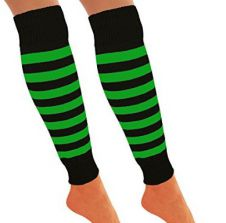 Girls Black & Green Stripe Leg Warmer