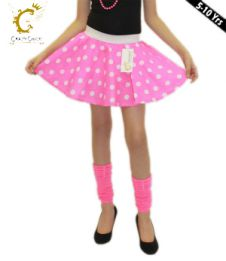 Girls Pink White Polka Dot Skirt
