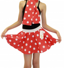 Girls Red White Polka Dot Skirt