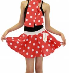 Girls Red White Polka Dot Skirt