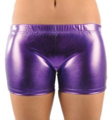 Girls Shiny Purple Hot Pants