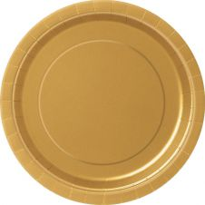 Gold 9 Inches Plain Plates (Pack of 16)