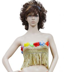 Gold Hawaiian Hula Straw Bra
