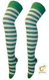 Green White OTK Stripe Socks (12 Pairs)