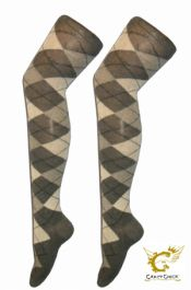 Grey Diamante Argyle OTk Socks (12 Pairs)