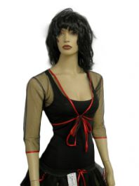 Halloween Net Shrug Top Black/Red