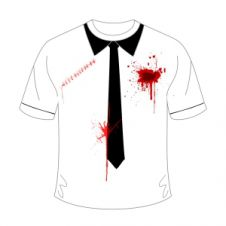 Halloween White Bleeding Bullet Scar Printed T-Shirt With Black Tie