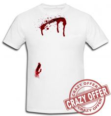 Halloween White Bleeding Scar Printed T-Shirt