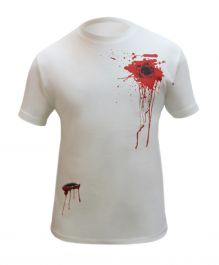 Halloween White Bullet Wound & Scar Printed T-Shirt