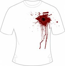 Halloween White Gunshot Wound Printed T-Shirt