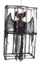 Hanging Cage With Bat and Eyes