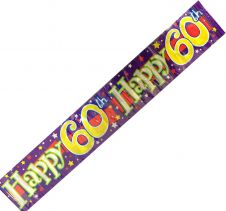 Happy 60th Birthday Party Banner 2.6 m