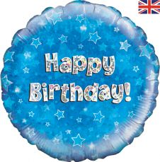 Happy Birthday Blue Holographic Balloon Generic (18 Inches)