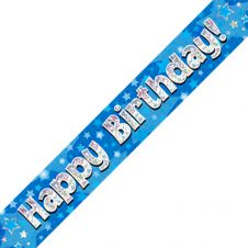 Happy Birthday Generic Banner Blue Holographic (9 ft)