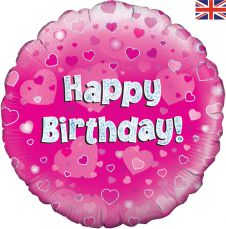 Happy Birthday Pink Holographic Balloon Generic (18 Inches)