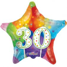 Happy Birthday Star 30th Candles Balloon (18 Inches)