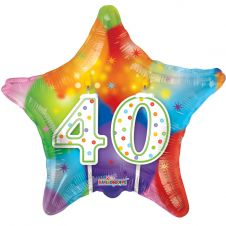 Happy Birthday Star 40th Candles Balloon (18 Inches)