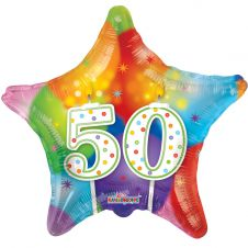 Happy Birthday Star 50th Candles Balloon (18 Inches)
