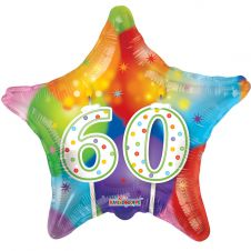 Happy Birthday Star 60th Candles Balloon (18 Inches)
