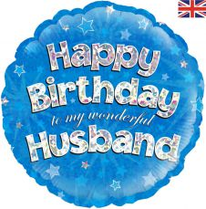 Happy Birthday Husband Holographic (18 Inches)
