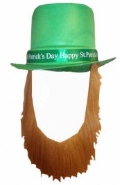 Happy St Patricks Day Topper Hat/brown Beard