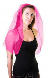 Hot Pink Veil on Hair Band