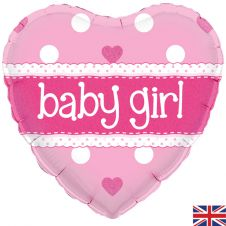 Its A Girl Pastel Heart Holographic (18 Inches)