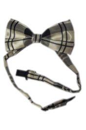 Ivory Tartan Bow Tie