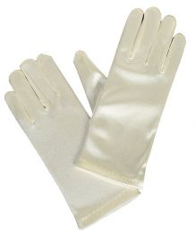 Ivory Satin Short Gloves