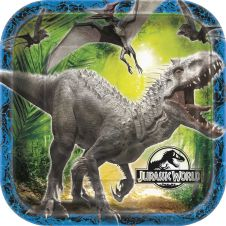 Jurassic World 9 Inches Square Plates (Pack of 8)