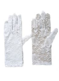 Lace Short Gloves White