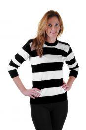 Ladies Black & White Stripe Knitted Jumper