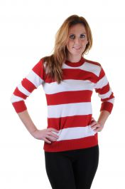 Ladies Red & White Stripe Knitted Jumper