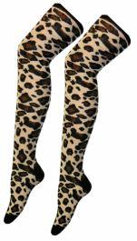 Leopard Print OTK Socks (12 Pairs)