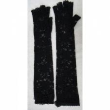 Long Fingerless Black Lace Gloves with Bow