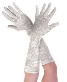 Long Lace Gloves White