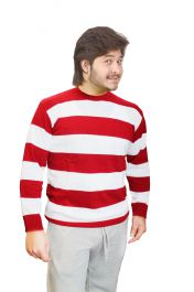 Unisex Red & White Stripe Knitted Jumper