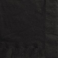 Midnight Black Plain Lunch Napkins (Pack of 20)