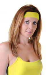 Neon Yellow Toweling Head Band (12 Pcs)