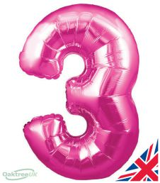 Number 3 Pink Balloon (30 Inches)