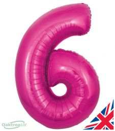 Number 6 Pink Balloon (30 Inches)