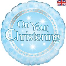 On your Christening Boy Holographic Balloon (18 Inches)