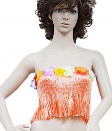 Orange Hawaiian Hula Straw Bra