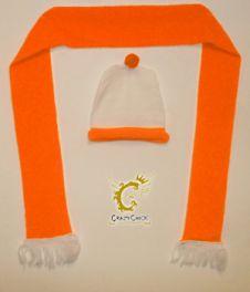 Orange white Hat & Scarf