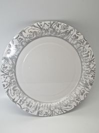 Paper Party Plates Silver/White Pack of 8